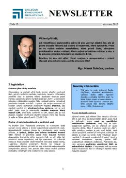 Newsletter červenec 2015