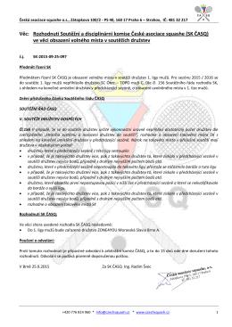 Rozhodnutí SK 2015 09 25 097 doplnění družstev do soutěží