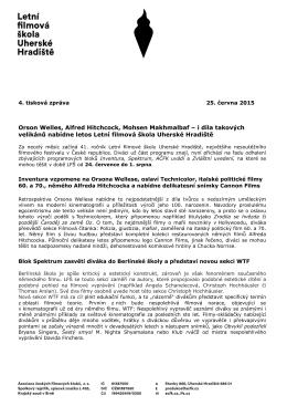 4. tisková zpráva LFŠ 2015 - Letní filmová škola Uherské Hradiště