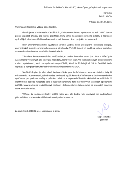 Certifikát environmentálního vyúčtování za rok 2014
