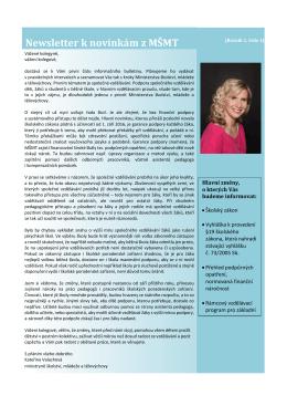 Newsletter k novinkám z MŠMT - Ministerstvo školství, mládeže a