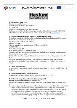 ZADÁVACÍ DOKUMENTACE - Hexium hydraulika sro