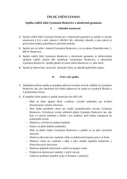 ÚPLNÉ ZNĚNÍ STANOV - Gymnázium Boskovice