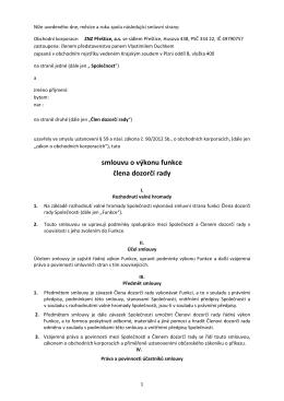Smlouva o výkonu - člen dozorční řady