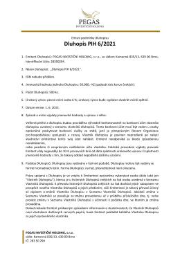 Emisní podmínky dluhopisu PIH 6/2021 v PDF