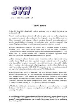Tisková zpráva - Svaz vodního hospodářství ČR