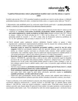 Vyjádření k závěrům koaliční rady ohledně registru smluv 18.3.2015