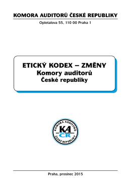 Změny Etického kodexu přijaté KA ČR (účinné od 23. 11. 2015)