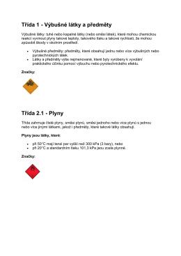 Třída 1 - Výbušné látky a předměty Třída 2.1 - Plyny