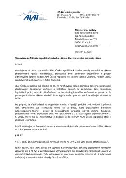 Stanovisko ALAI Česká republika k návrhu zákona, kterým se mění