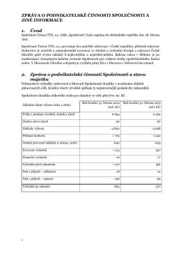 Zpráva o podnikatelské činnosti Společnosti a jiné