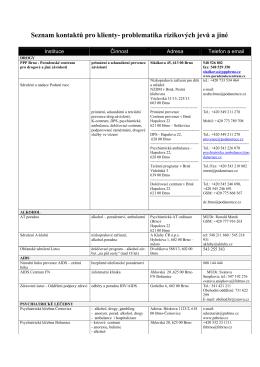 Seznam kontaktů pro klienty- problematika rizikových jevů a jiné