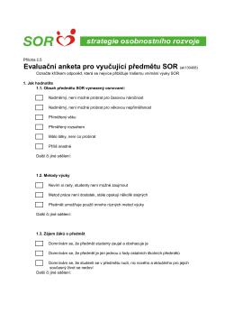 Evaluační anketa pro vyučující předmětu SOR