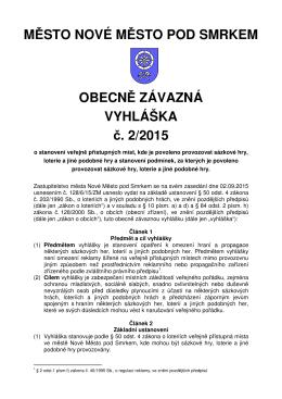 Obecně závazná vyhláška č. 2/2015