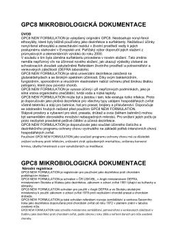 GPC8 MIKROBIOLOGICKÁ DOKUMENTACE pro humánní lékařství