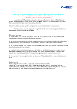 Postup přenosu licence Autodesk na jiné PC
