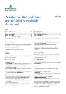 Zvláštní pojistné podmínky pro pojištění rekreačních domácností (M