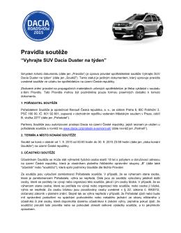 Pravidla soutěže - Dacia Česká republika
