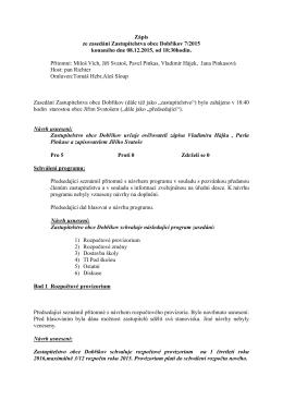 Zápis ze zasedání Zastupitelstva obce Dobříkov 7/2015 konaného