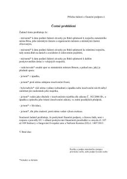 D02 - Čestné prohlášení k žádosti o dotaci, formát PDF