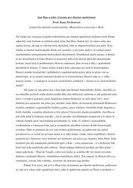 Jan Hus a jeho význam pro dnešní společnost