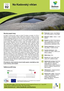 Itinerář výletu na Kadovský viklan