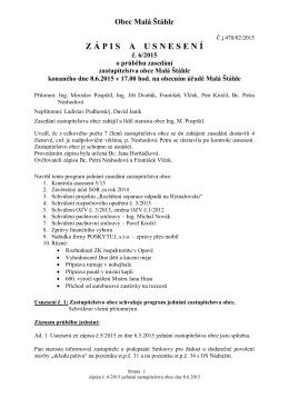 Zápis a usnesení ZO 8.6.2015