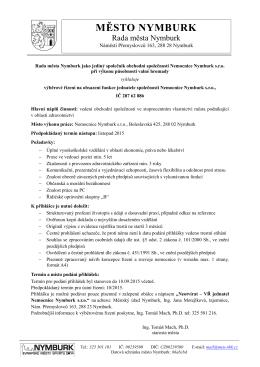 Požadavky a podmínky k přihlášce do výběrového řízení na