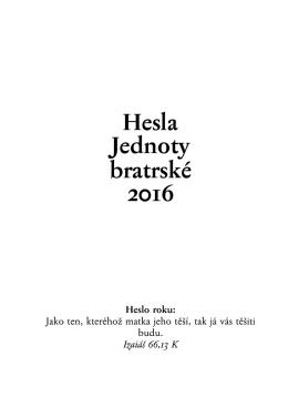 Hesla Jednoty bratrské 2016