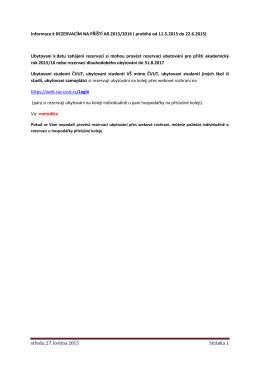 středa, 27. května 2015 Stránka 1 Informace k REZERVACÍM NA