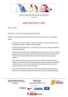 Jednání Výboru ČBF 12.02.2015