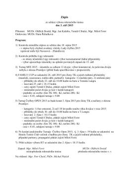 Zápis ze schůze výboru 3. září 2015