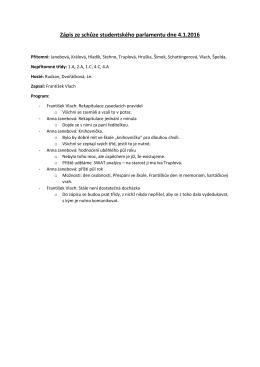 Zápis ze schůze studentského parlamentu dne 4.1.2016
