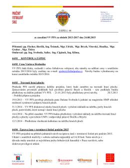 Zápis VV PFS č. 44 ze dne 24.8.2015