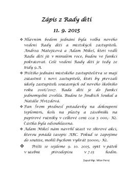 Zápis z Rady dětí 11. 9. 2015