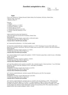 Zasedání zastupitelstva č 15 ze dne 11.12.2015