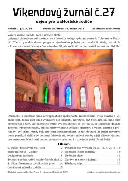 Víkendový žurnál č.27 - Waldorfská škola Jinonice, Praha