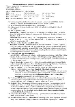 Zápis z 10. jednání Studentského parlamentu 3.6.2015