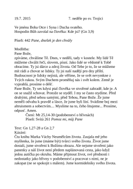 19.7. kázání L. Ridzoňové Člověk Gn 1,27