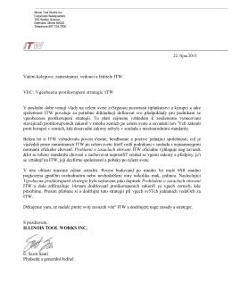 zásady pro zabránění korupci společnosti ITW