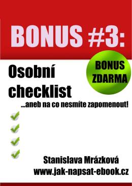 k čemu je tento checklist vlastně dobrý?