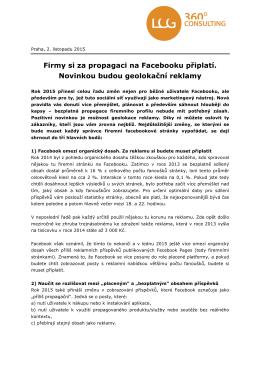 Firmy si za propagaci na Facebooku připlatí