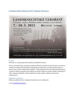 Landsknechtské táboření 2015 základní informace