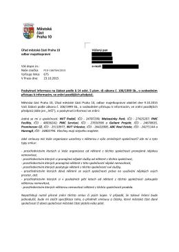 Úřad městské části Praha 10 odbor majetkoprávní Vážený pan e-mail