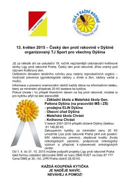 13. květen 2015 – Český den proti rakovině v Dýšině