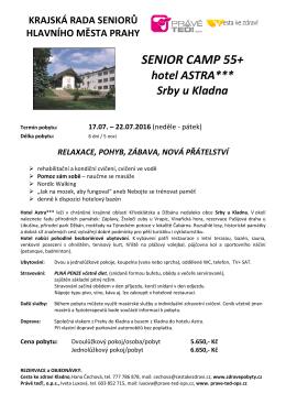 Senior Camp 55+ – Hotel Astra, Srby u Kladna, 17.7