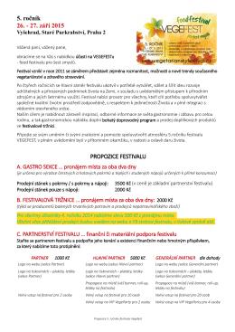 5. ročník 26. - 27. září 2015 PROPOZICE FESTIVALU