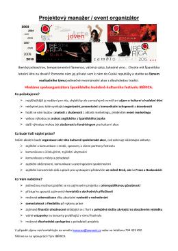 Projektový manažer / event organizátor