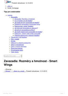 Zavazadla: Rozměry a hmotnost - Smart Wings