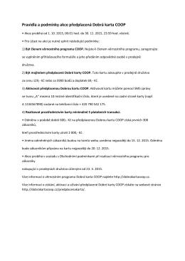 Pravidla a podmínky akce předplacená Dobrá karta COOP
